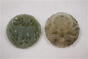 2 Chinese celadon jade carved ornaments