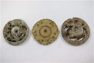3 Chinese celadon jade carved ornaments