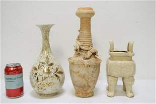 3 Song style porcelain vases/ censer