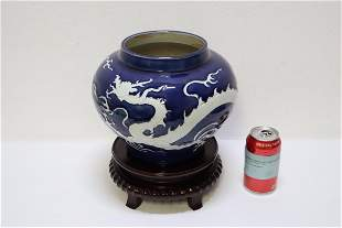 A beautiful Chinese white on blue porcelain jar