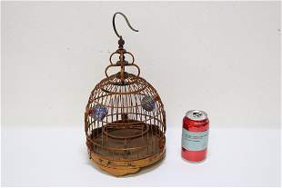 Chinese vintage bamboo bird cage w/ bird feeders
