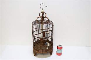 A Chinese antique bamboo carved bird cage