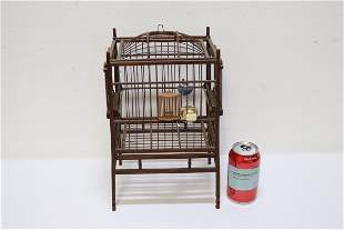 Chinese antique rectangular bamboo carved bird cage