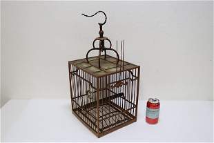 Chinese antique bamboo carved square bird cage