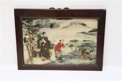 Chinese 18th/19th c. framed marble plaque