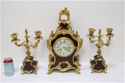 3 pc French garniture set with gilt bronze ormolu