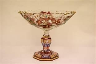 Persian enamel on crystal pedestal candy dish
