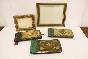 3 Persian photo albums, & 2 inlaid picture frames
