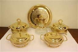 6 pieces gold plate dinner tureen pitcher, tray