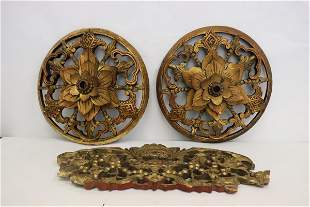 3 Chinese antique gilt wood carved ornaments