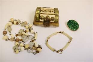 Lot of bone carved jewelry, box and more