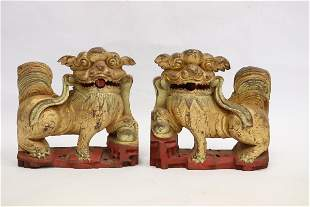 Pair Chinese antique gilt wood fulion