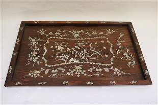 Chinese 19th c. rosewood tray with MOP inlaid