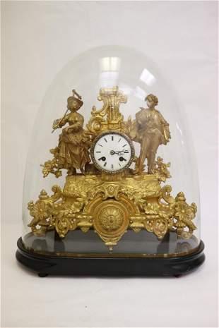 French antique gilt bronze keywind clock