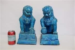 Pair Chinese blue glazed fulion
