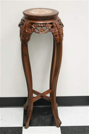 Chinese rosewood marble top pedestal stand