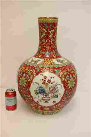 Large Chinese famille rose porcelain bottle vase