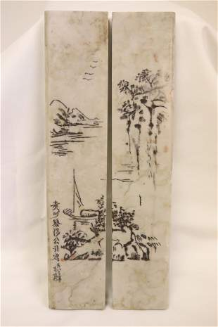 Pair Chinese stone paperweights