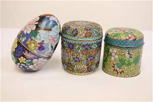 3 Chinese cloisonne boxes