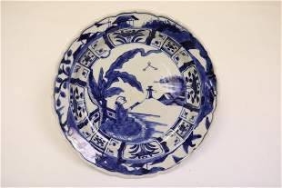 Chinese antique b&w porcelain plate, Kangxi period