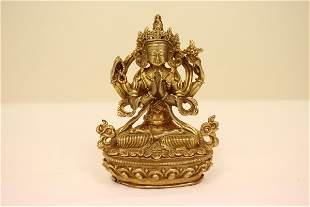 Fine Chinese antique gilt bronze sculpture of deity