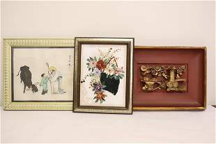 Chinese framed print, and 2 wall panels