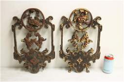 Pr Chinese antique painted wood ornaments