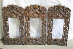 3 Chinese 19th c. carved and painted wood frames