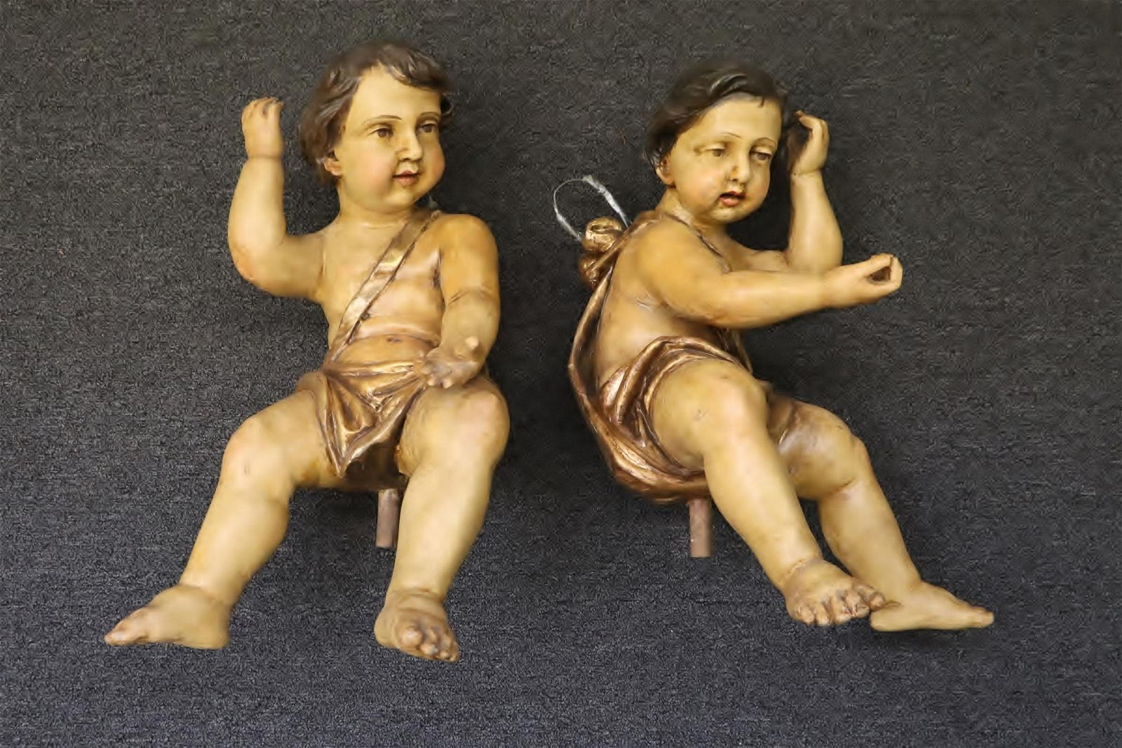 Pair antique Spanish/Portugal wood carved angels