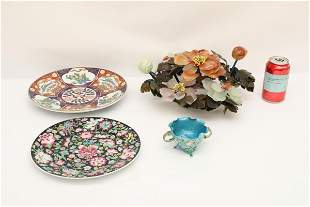 jade tree, enamel cup and 2 porcelain plates