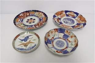 4 Japanese antique imari plates