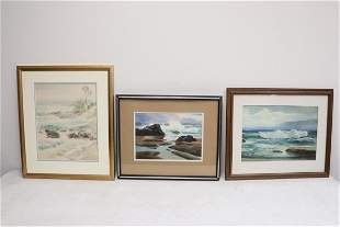2 framed watercolor and one framed print