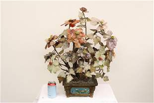 Large Chinese jade tree with cloisonne planter