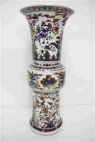 Chinese wucai trumpet porcelain vase