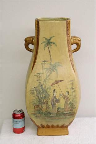 A large Chinese wucai porcelain square vase