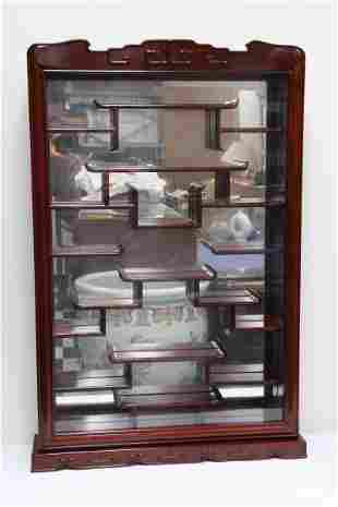 Chinese rosewood wall hanging curio cabinet