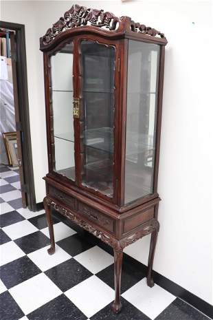 Chinese vintage rosewood display case on stand
