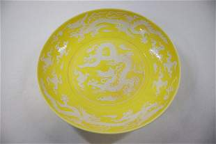 Chinese white on yellow porcelain plate
