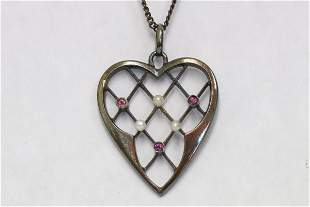 14K pendant w/ ruby & seed pearl & 14K necklace