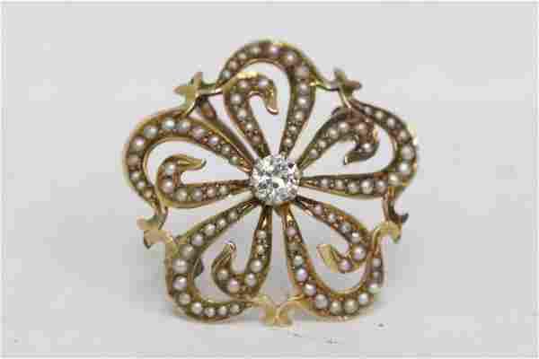 Victorian 14K pendant w/ diamond & seed pearls