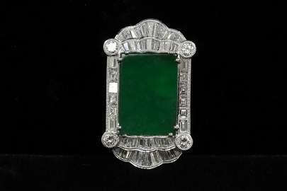 platinum pendant w/ jadeite & diamonds w/ GIA