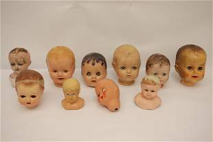 10 vintage doll heads, condition varies
