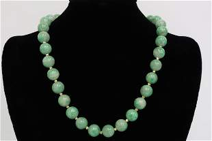 Chinese jadeite bead necklace w/ 14K ball clasp