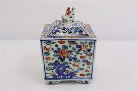 Chinese 19th c. porcelain censer, Guangxu period