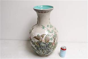 Chinese large carved and painted porcelain vase
