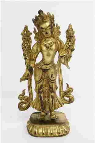 Fine Chinese vintage gilt bronze sculpture of deity