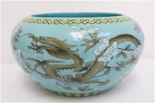 Chinese blue background famille rose basin