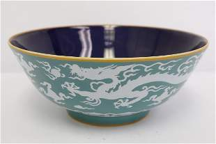Chinese green on white porcelain bowl