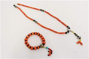 Chinese coral like bead necklace