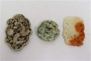 3 Chinese jade like stone carved ornaments